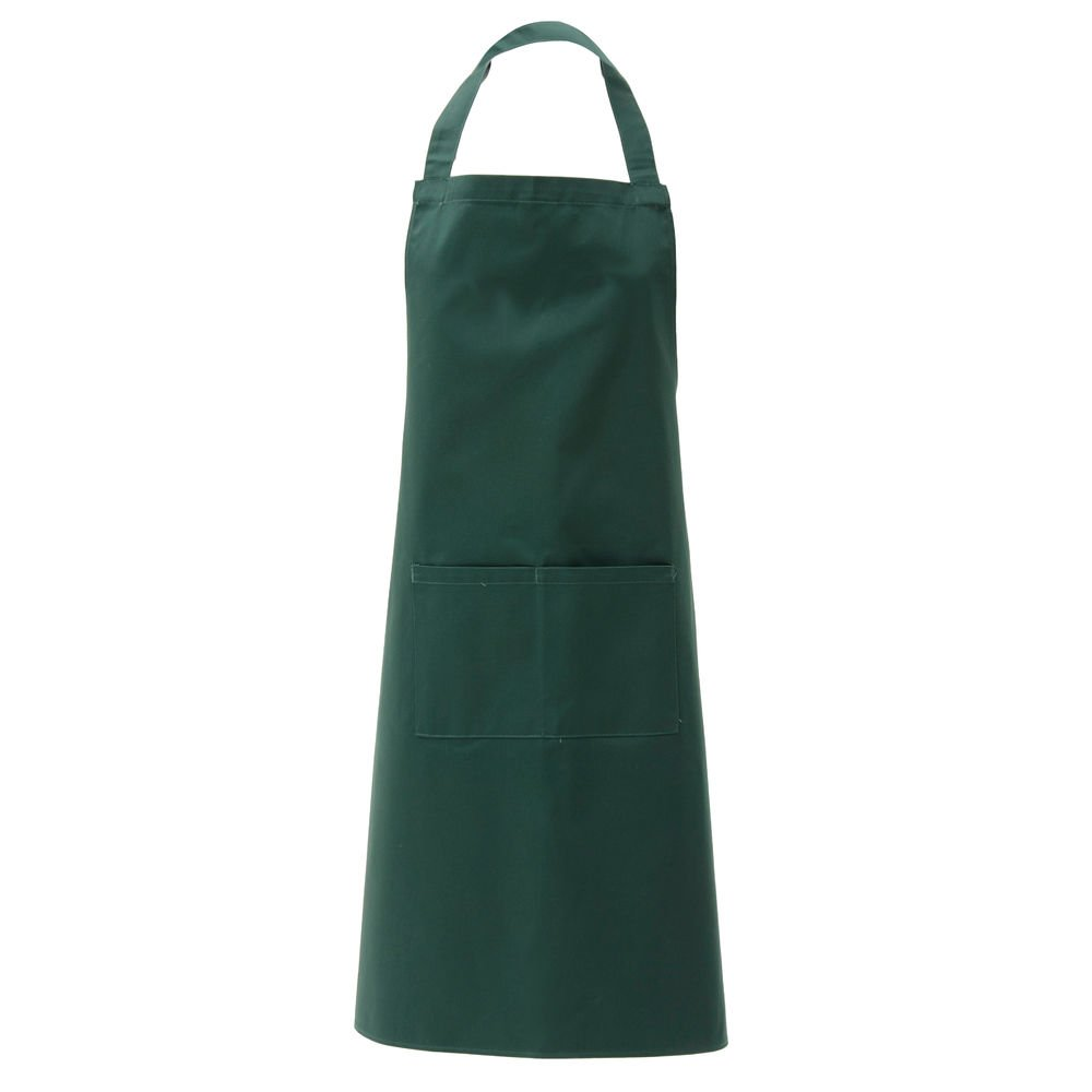 "HUBERT Green Poly Cotton 2-Pocket Bib Apron - 38""L x 28""W"