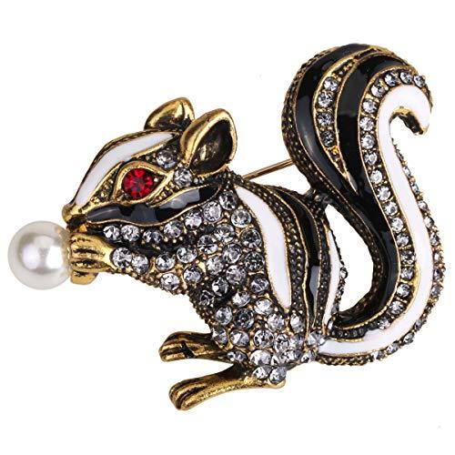 Hiddleston Jewelry Cute Squirrel Brooch Pin]()