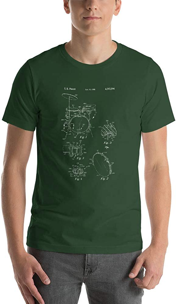 Drum Kit Patent Drummer Shirt Cool Unique Hipster ic Short-Sleeve Unisex T-Shirt