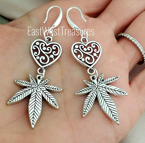 Filigree Heart Marijuana Weed Cannabis Leaf earrings -Stoner jewelry gifts for women-925 silver wires ()