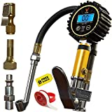 Vondior Digital Tire Inflator/Pressure Gauge (200 PSI) - Car Tire Inflator & Deflator Gun, with 3 Different Air Chuck Accessories + 1/4'' NPT for Truck, Automobile and Motorcycle