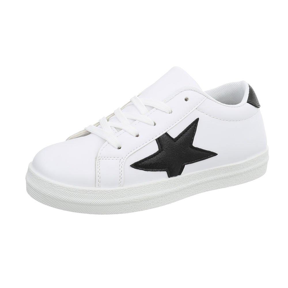 Ital-Design Damenschuhe Freizeitschuhe Weiß Sneakers Niedrig Weiß Freizeitschuhe Schwarz 66-11-1 39ac6f