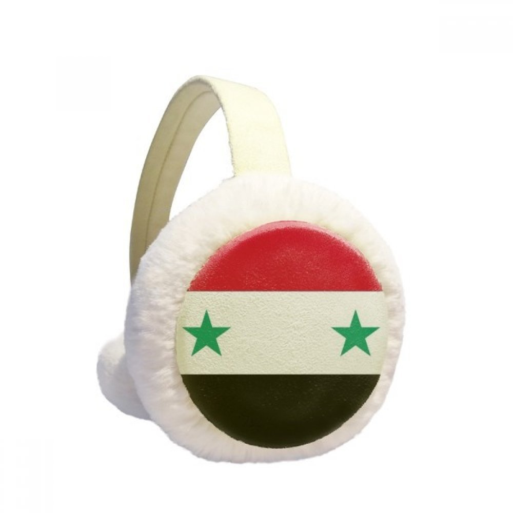 Syria National Flag Asia Country Winter Earmuffs Ear Warmers Faux Fur Foldable Plush Outdoor Gift