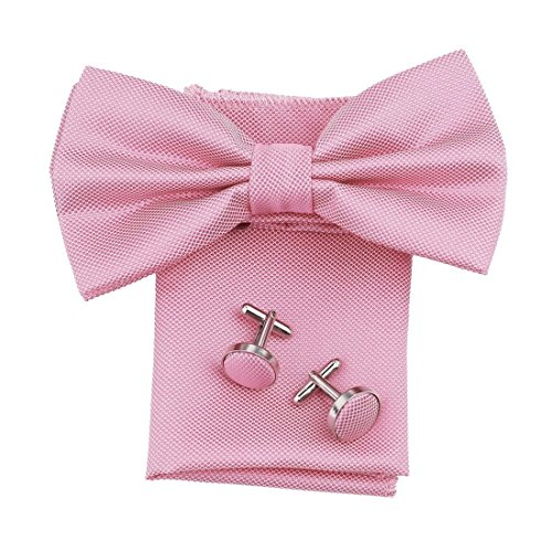 DBC3009 Pink Checkered Gentlemen Poly Pre-Tied Bowties Hanky Cufflinks Set by Dan Smith (Pink Bowties)