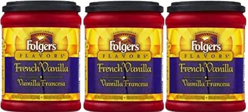 Fresh Taste of Folgers Coffee, French Vanilla Flavored Ground Coffee, Mellow & Smooth Flavor, 11.5 Oz Canister