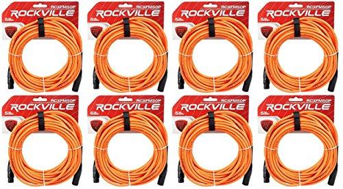 Rockville RCXFM50P-O Orange 50' Female to Male REAN XLR Mic/Speaker Cable by Rockville