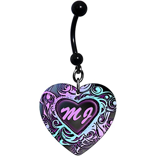 Body Candy Customizable Steel Pink Blue Black Tribal Heart Personalized Initials Dangle Belly Ring (Belly Dangle Ring Initial)