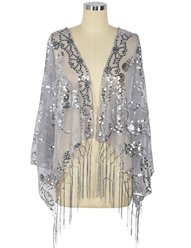 20's Flapper Coat - PrettyGuide Women's 1920s Shawl Sequin Fringed Wedding Cape Evening Shawl