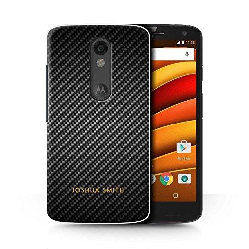 Fibre Effect Case for Motorola Droid Turbo 2 / Grey Stamp Design / Initial/Name/Text DIY Cover (Carbon Fibre Effect)