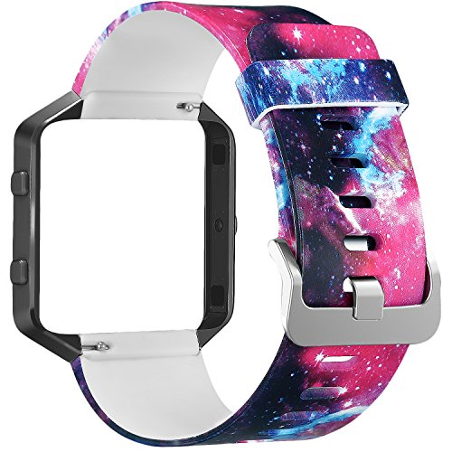 SKYLET for Fitbit Blaze Bands, Silicone Replacement Band with Steel Frame for Fitbit Blaze Bracelet (No Tracker)[Black Universe+Black Frame]