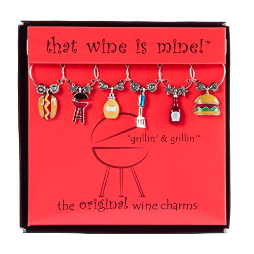 Wine Things WT-1614P Grillin' & Chillin', Painted Wine Charms, Fits neatly around stem, Multi-Color -