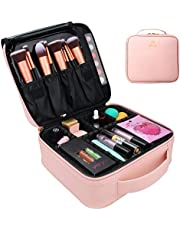 MONSTINA Makeup Train Cases Professional Travel Makeup Bag Cosmetic Cases Organizer Portable Storage Bag for Cosmetics Makeup Brushes Toiletry Travel Accessories (Small pink)