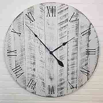 Wooden Clock by Yankee Woodworks White with black undertones Large Wall Clock 42 Inch Diameter