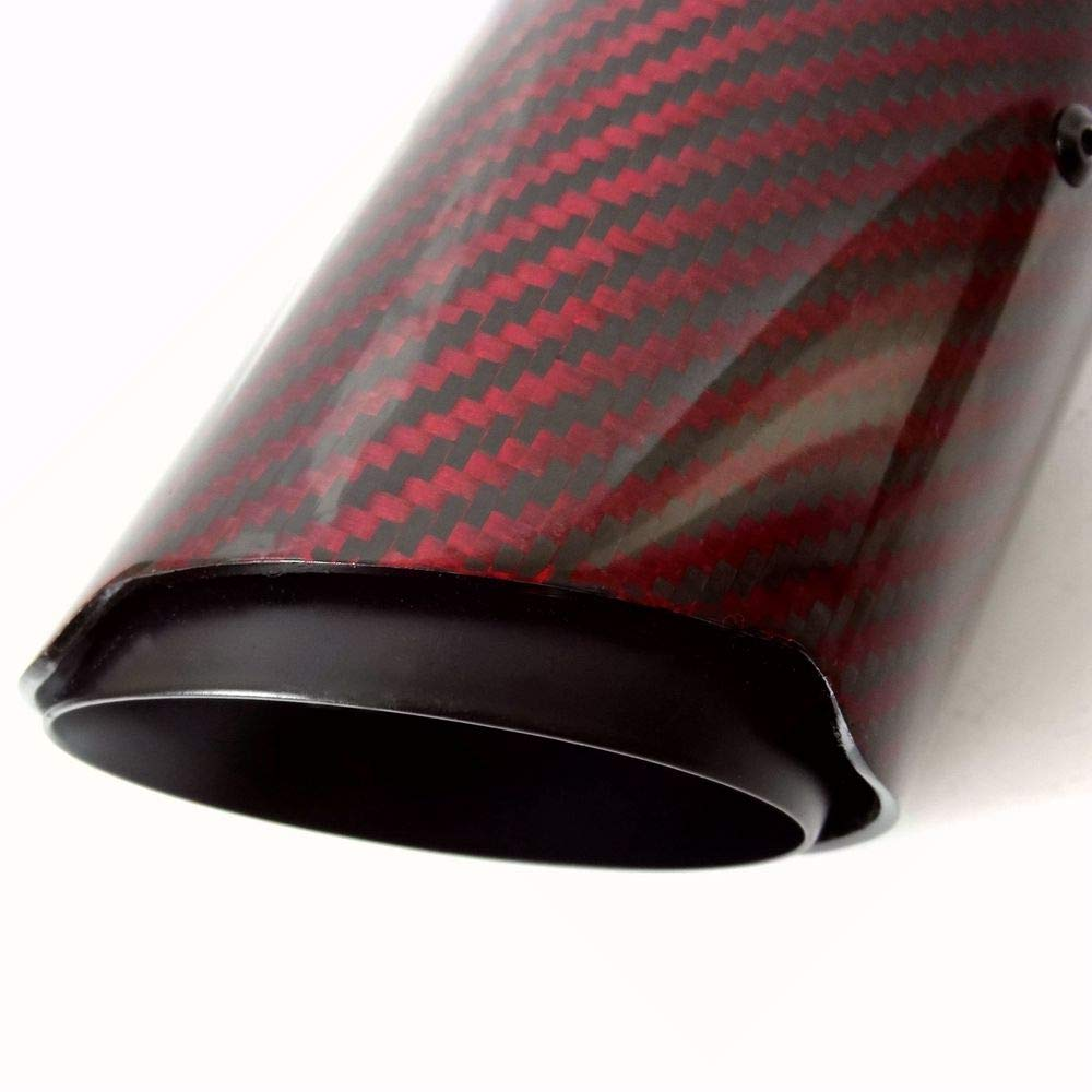 Inlet 54//63mm 3.5 2.1//2.5 Outlet 89mm Inlet 54mm Outlet 89mm with Black Stainless Steel Exhaust Tips SORMOR Red Twill Glossy Muffler Pipes