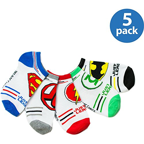 DC Comics Boys' 5 Pack Logo Ankle Socks M(shoe - Shoes League Justice
