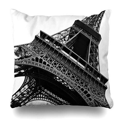 Ahawoso Throw Pillow Cover Square 18x18 View Brown Black Eiffel Tower Abstract On Tall White Paris Big Mono Amazing Attraction Design Zippered Cushion Case Home Decor Pillowcase
