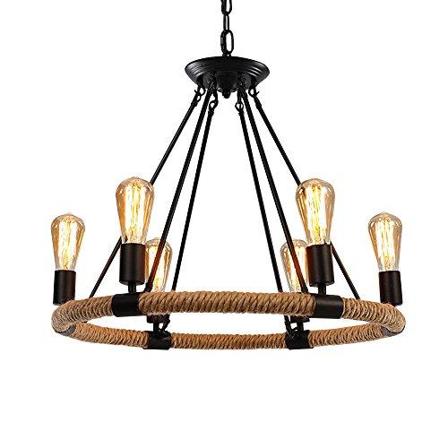 Boshen Industrial Vintage Hemp Rope Chandelier Iron Ceiling Lamp Pendant Metal Island Lighting Fixture for Living Room Cafe Basement Restaurant Bar 3 Styles (6 Heads(1 Tier))