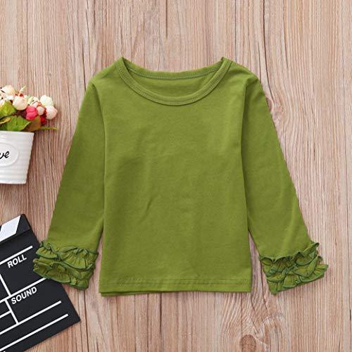 Colore Girls Shirts Abiti Cinnamou Volan Sleeve Baby Long verdi Solid Top Candy xqBwBXRdz