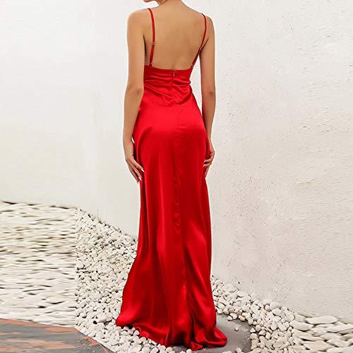 Femmes Longues Haute Solide XL Split Robe S Rouge Maxi Rouge Soire Clubwear Kaki L Sexy Robes Robe samLIKE M BXApqFw1