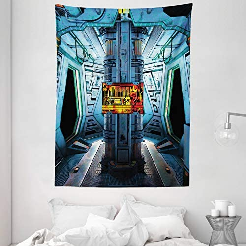 Ambesonne Outer Space Tapestry, Space Ship Station Base Control Room Technology Elements Features Image, Wall Hanging for Bedroom Living Room Dorm, 60 X 80 , Blue Black
