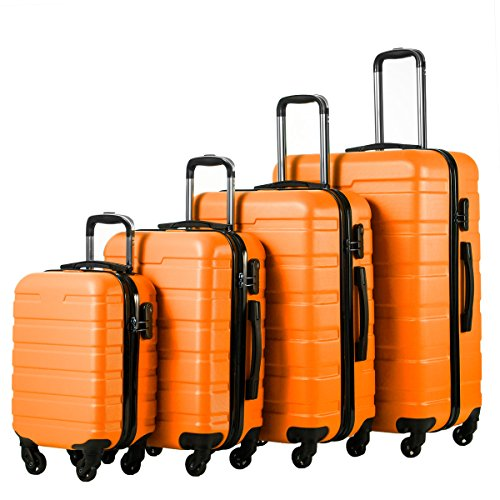 Coolife Luggage 4 Piece Set Hard shell Lightweight Suitcase