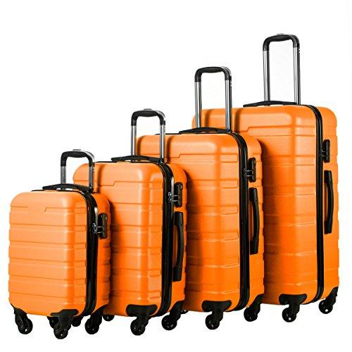 Coolife Luggage 4 Piece Set Hard shell Lightweight Suitcase (family set-orange)