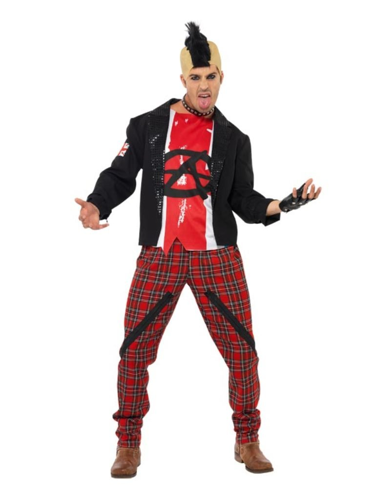 Mr Anarchist Punk Costume for Men with Jacket, Top and Trousers - Small, Medium or Large.