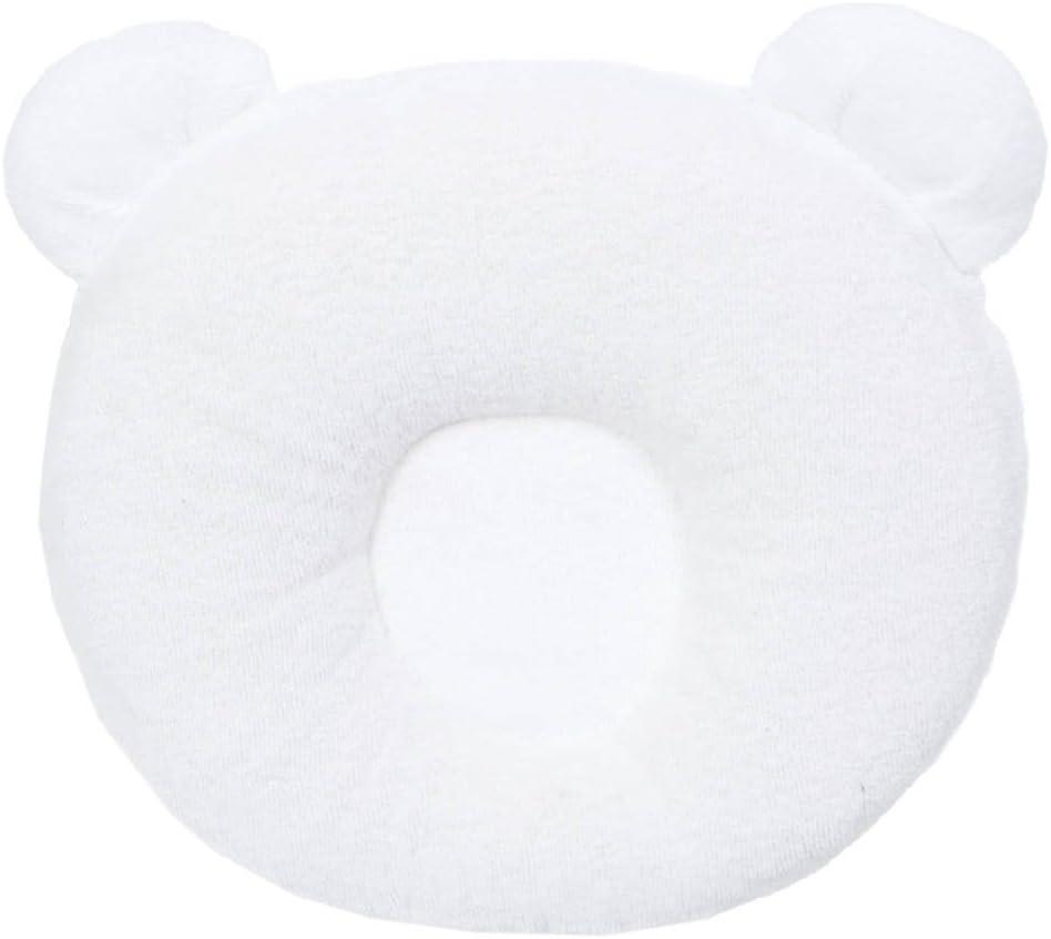 Candide 270109 - Almohadón viscoelástico para bebé con forma de panda, ayuda a mantener la cabeza recta, color blanco