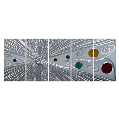 Pure Art Silver Solstice - Metal Wall Art Decor - Abstract Modern Space