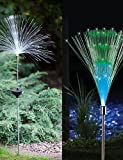 ZQ Character design Set Of 2 Solar Fiber Optic Light Fountain Garden Stake(Cis-57185)