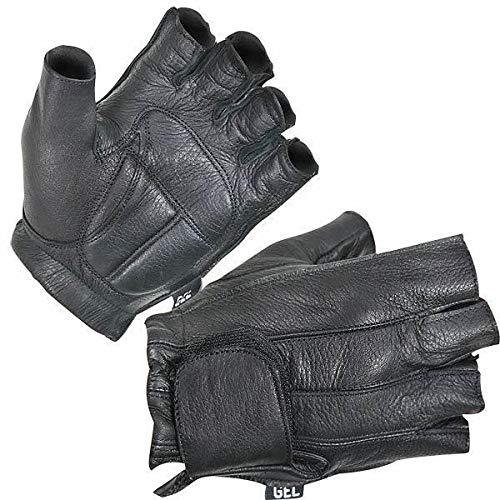 Xelement XG850 Men's Black Leather Deerskin Fingerless Motorcycle Gloves - -