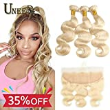 Uneed Hair 10A 613 Bundles with Frontal (18 20 22+16free part)100% Unprocessed Virgin Human Hair Bundles with 13x4 Ear to Ear Lace Frontal by Uneed Hair