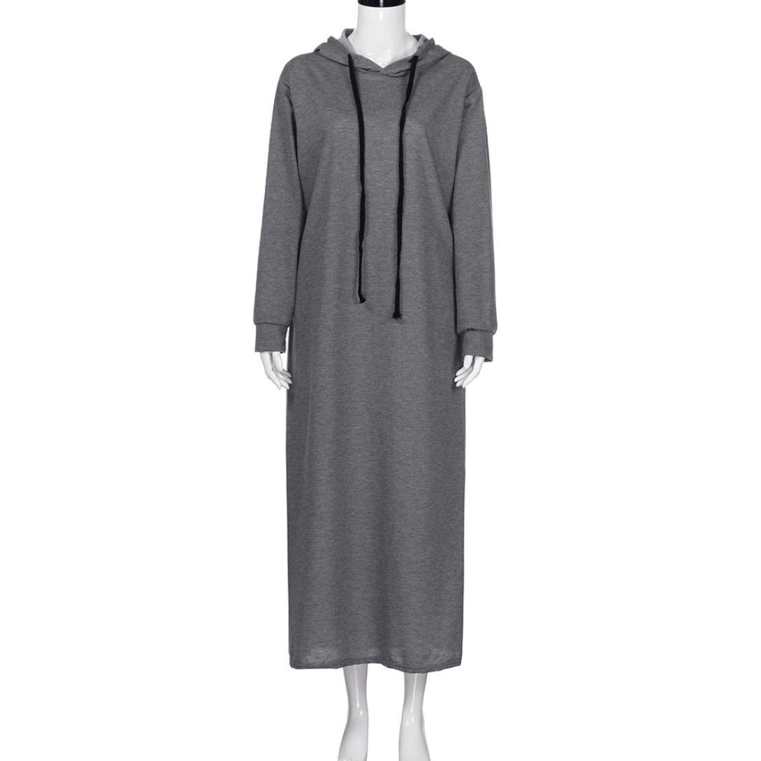 726130cc532 Leewos Clearance Women Casual Solid Plus Size Pockets Loose Maxi Dresses  LEE9471 Long Sleeve Hoddies Dress