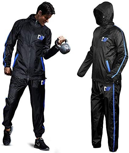 DMoose Sauna Suit for Men and Women, Sweat Suit for Weight Loss 2 Pc Set, Zipper Jacket Pant with Hood Full Body Gym Fit Wear, Anti-Rip Workout Suit Sports Running Cycling Yoga Pilates Boxing Anti-Rip 1