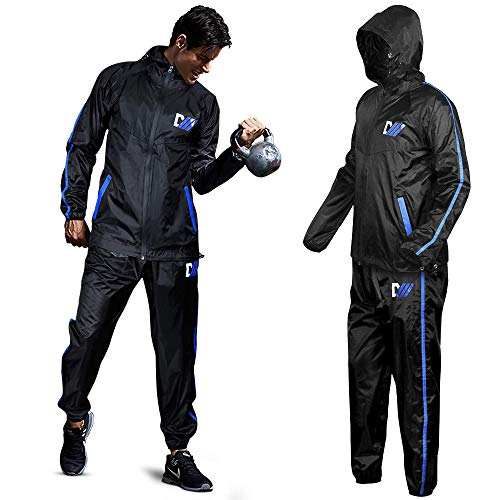 DMoose Sauna Suit for Men and Women, Sweat Suit for Weight Loss 2 Pc Set, Zipper Jacket Pant with Hood Full Body Gym Fit…