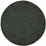 Black Leather Matador 3×3′ Round Rug For Sale