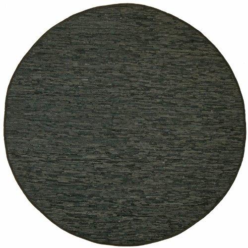 Black Leather Matador 3x3' Round Rug