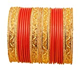 New! Touchstone Colorful 2 Dozens Bangle Collection Indian Bollywood Alloy Metal Textured Carrot Red Designer Jewelry Special Large Size Bangle Bracelets Set of 24 in Antique Gold Tone for Women.