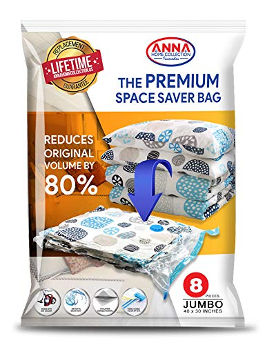 Anna Home Premium Jumbo Vacuum Storage Bags (8 Jumbo) Space Saver Storage Bags. Durable & Reusable Vacuum Sealer Bags for Clothes Storage, Travel Hand Pump Included