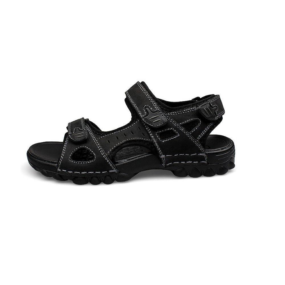 NIUMJ Männer Atmungsaktiv Sommer Strand Lässig Rutschfest Mode Im Freien Atmungsaktiv Männer Fahren Sandalen schwarz cbe8f2