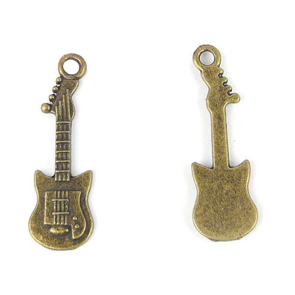 Abalorios de bronce antiguo para joyería, manualidades, abalorios para hacer abalorios 661384 guitarra eléctrica: Amazon.es: Juguetes y juegos