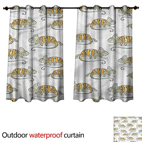 cobeDecor Reptile Outdoor Curtain for Patio Wild Chameleon Lizard W55 x L72(140cm x -