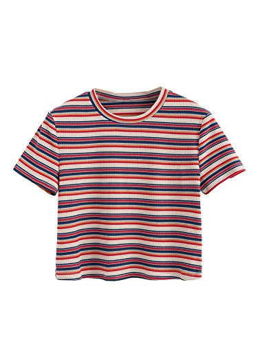 SweatyRocks Women's Short Sleeve Striped Crop T-Shirt Casual Tee Tops (Small, Red#) ()