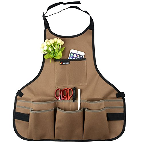 LBZE Utility Canvas Work Apron,Tool Apron,Cross-Back Straps Adjustable Size,Fits Men Women,Protective and Waterproof by LBZE