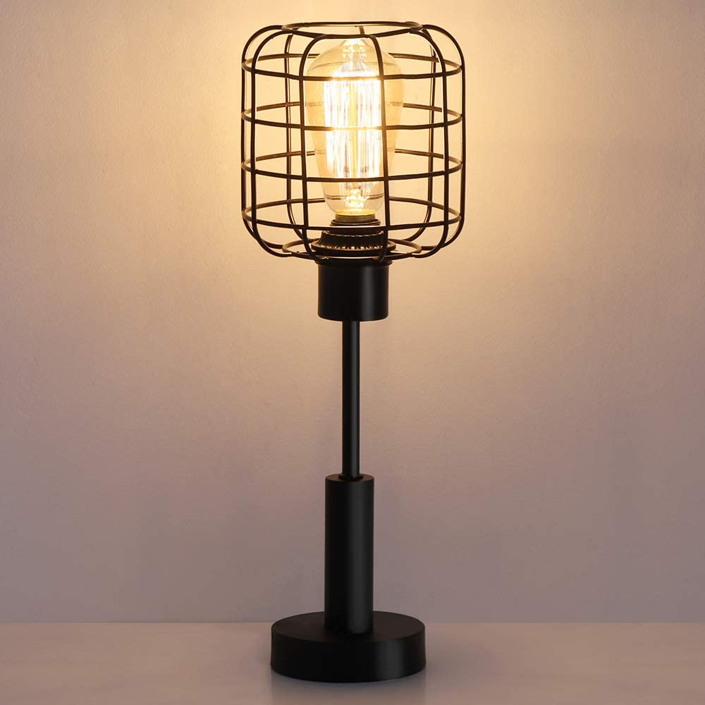 HAITRAL Modern Table Lamp - Edison Vintage Nightstand Lamp for Bedroom, Office, Dorm, Living Room, Black
