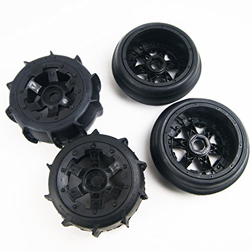 Front Rear Sand Paddles Wheels Tires for HPI KM Baja 5B ()