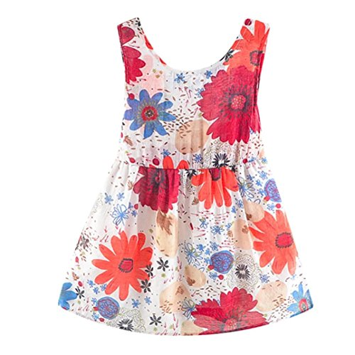 vermers Clearance Sale Newborn Dresses - Baby Girls Floral Print Bowknot Backless Princess Dress Casual Clothes(12M, Red) -