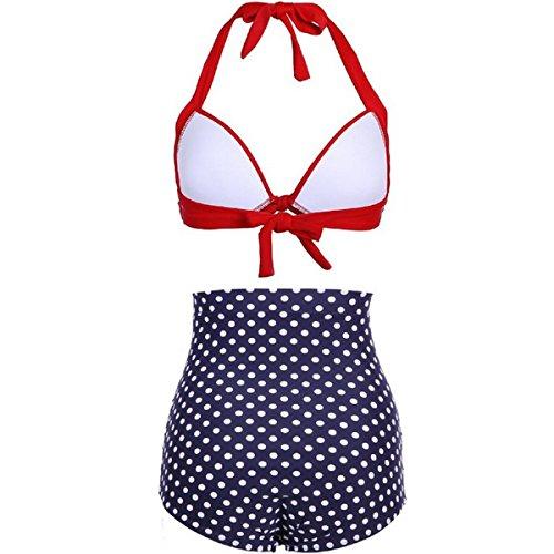 Bandage Bikini High Waist Bikini Wave Point Pattern Swimwear Two Pieces Bkini