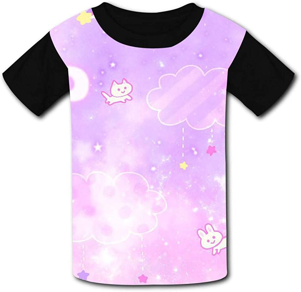 Starry Sky Childrens Summer Short Sleeve Printing T-Shirts