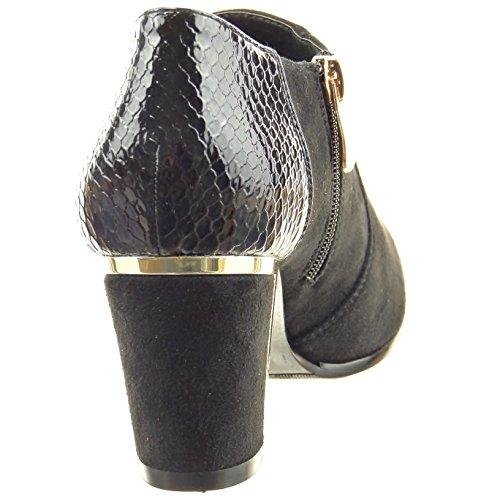 Sopily - Zapatillas de Moda Botines low boots Tobillo mujer piel de serpiente cremallera metálico Talón Tacón ancho alto 7 CM - Negro